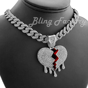 White Gold Plated Broken Heart Drip Pendant & 12mm 16