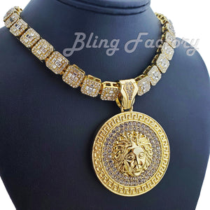 Gold Plated Medusa Medal Pendant & 12mm 16