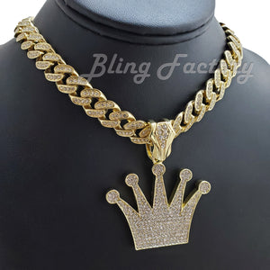 Iced Gold Plated KING Crown Pendant pendant & 12mm 16
