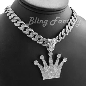 Iced White Gold Plated KING Crown Pendant pendant & 12mm 16