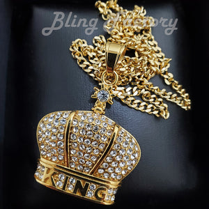 Hip Hop Stainless Steel KING CROWN Pendant & 3mm 18