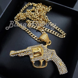 Hip Hop Stainless Steel Hand Gun Pendant & 3mm 18