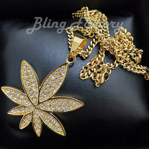 Copy of Hip Hop Stainless Steel Marijuana Weed Leaf Pendant & 3mm 18