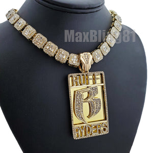Gold Plated DMX RUFF RYDERS Pendant & 12mm 16