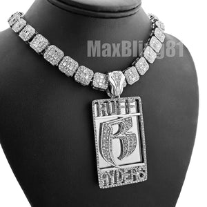 Silver Plated DMX RUFF RYDERS Pendant & 12mm 16