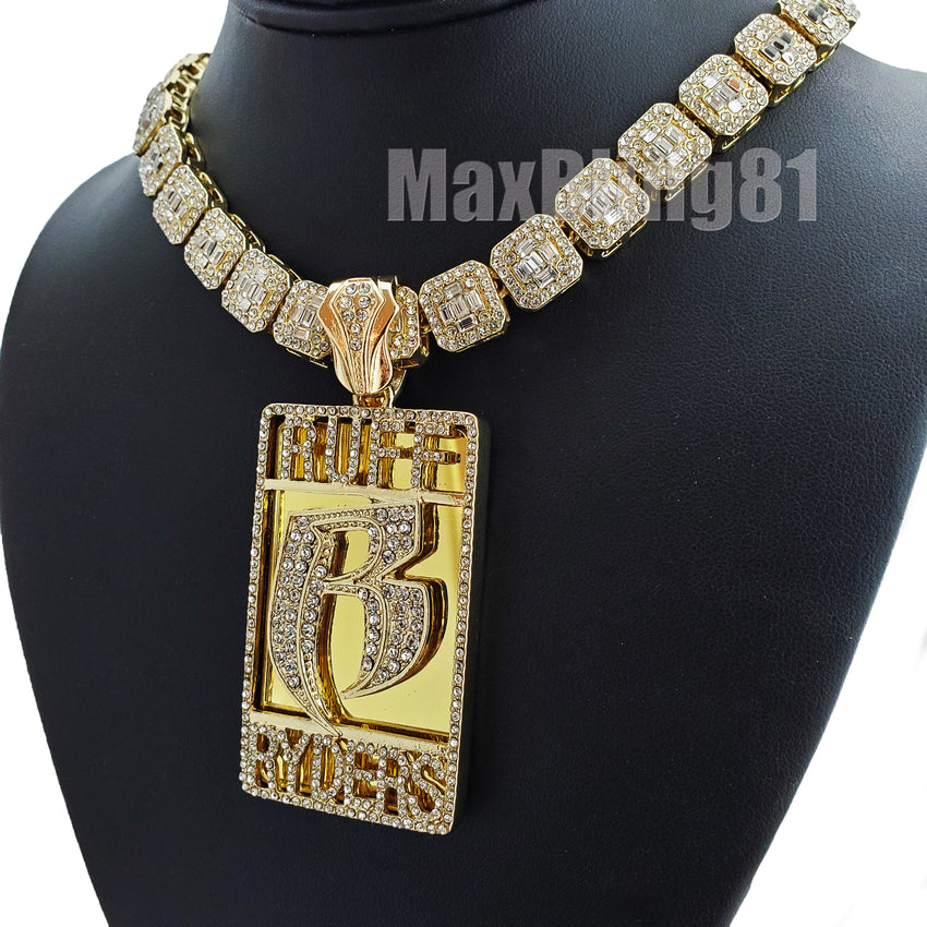 "Gold Plated DMX RUFF RYDERS Pendant & 12mm 16"" 18"" Full Iced Baguette Choker Chain Necklace"