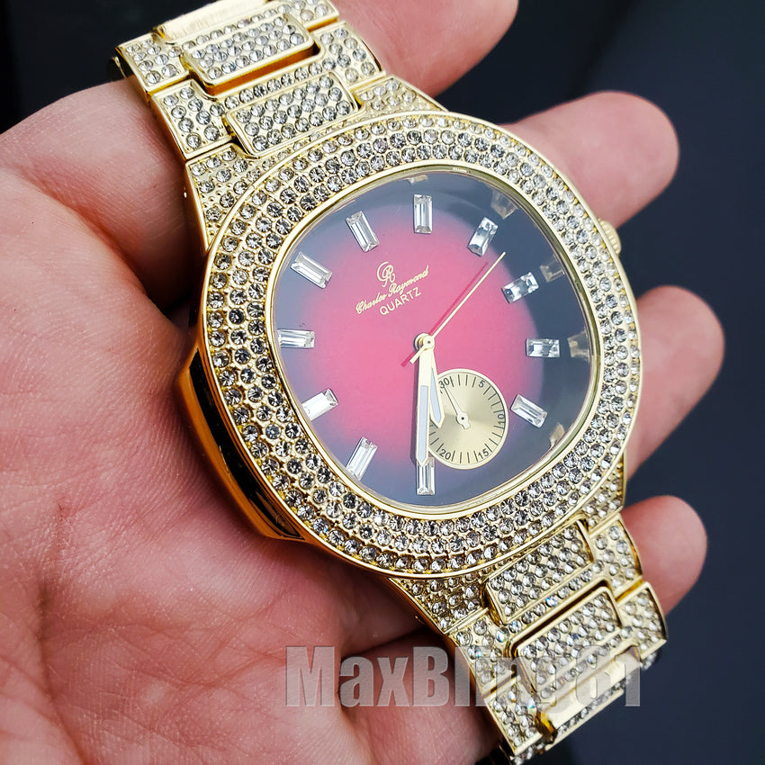 HIP HOP GOLD PT LUXURY BLING RED DIAL WATCH & ICED BAGUETTE STONE BRACELET SET