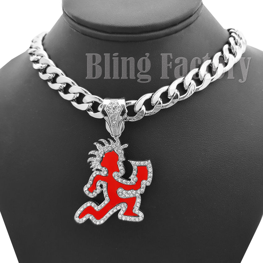 "Hip Hop Silver PT HATCHET MAN RUNNER Pendant & 11mm 20"" Cuban Choker Chain Necklace"