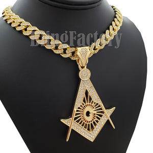 Hip Hop Large Freemason Masonic pendant & 12mm 18