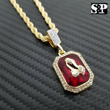 Hip Hop Praying Hands & Red Ruby Praying Hands Pendant w/ Rope Chain 2 Necklaces