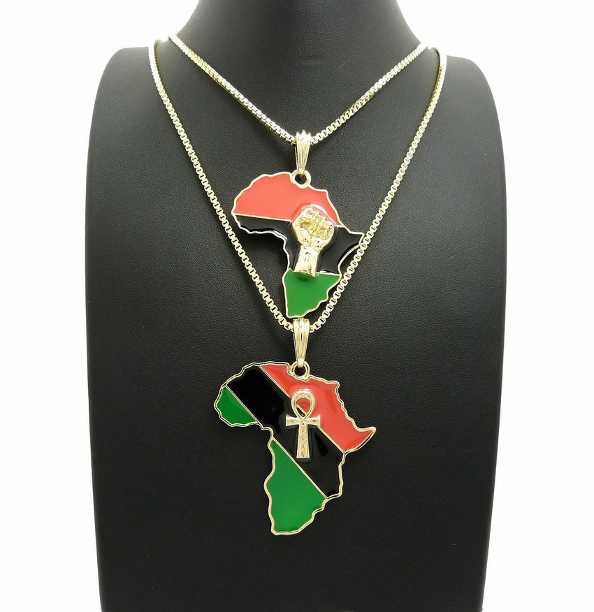 "New Fist & Ankh in Africa Pendant w/ 24"",30"" Box Chain Hip Hop 2 Necklace Set"