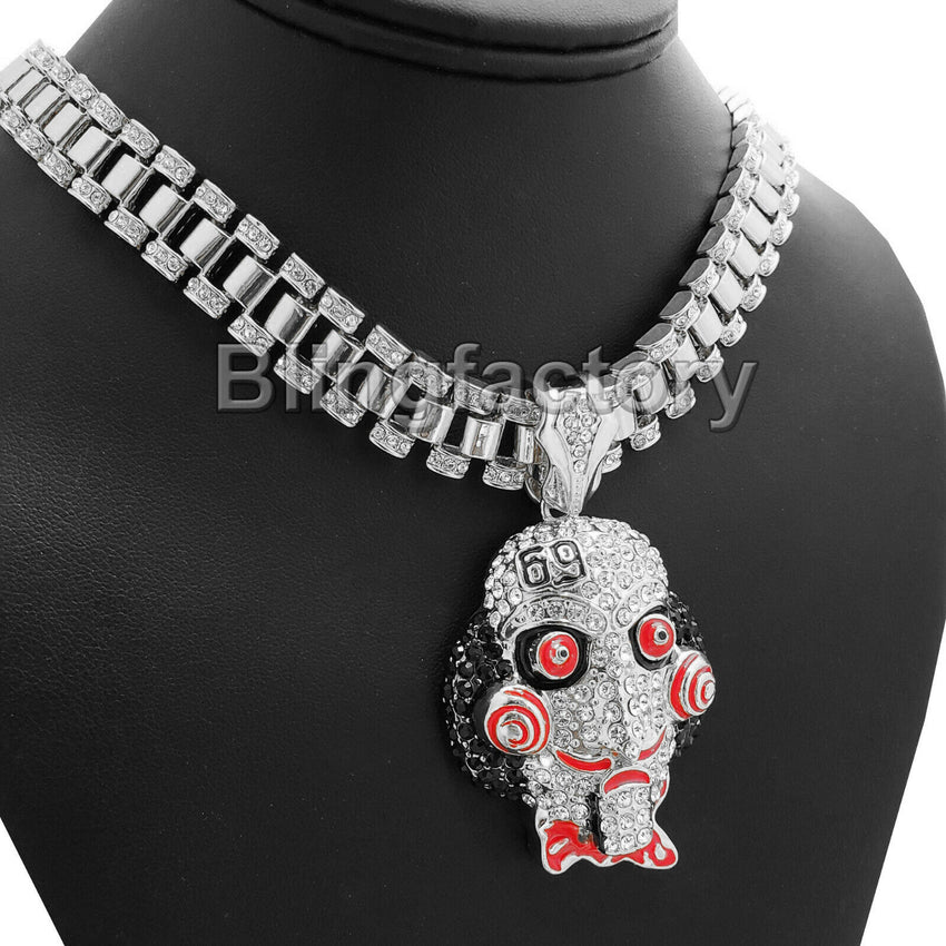 "Hip Hop Iced out Large Saw Pendant & 18"" Iced Rollie Link Choker Chain Necklace"