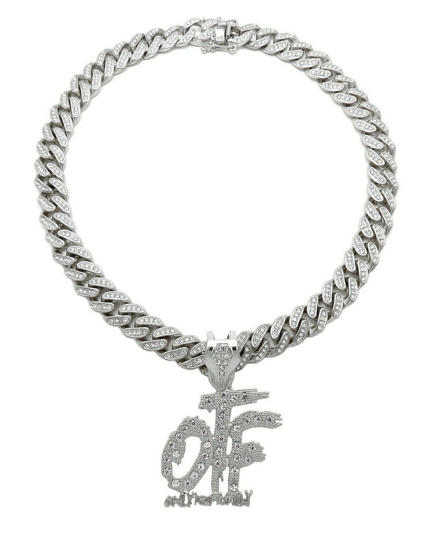 "Hip Hop Only The Family OTF & 18"" Full Iced out Cuban Link Choker Chain Necklace"