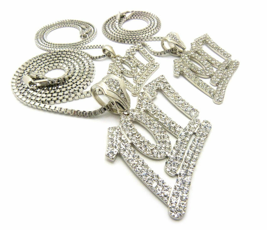 "Iced Hip Hop 3pcs of 1017 Pendant w/ 20"",24"",30"" Box Chain 3 Necklace Set"