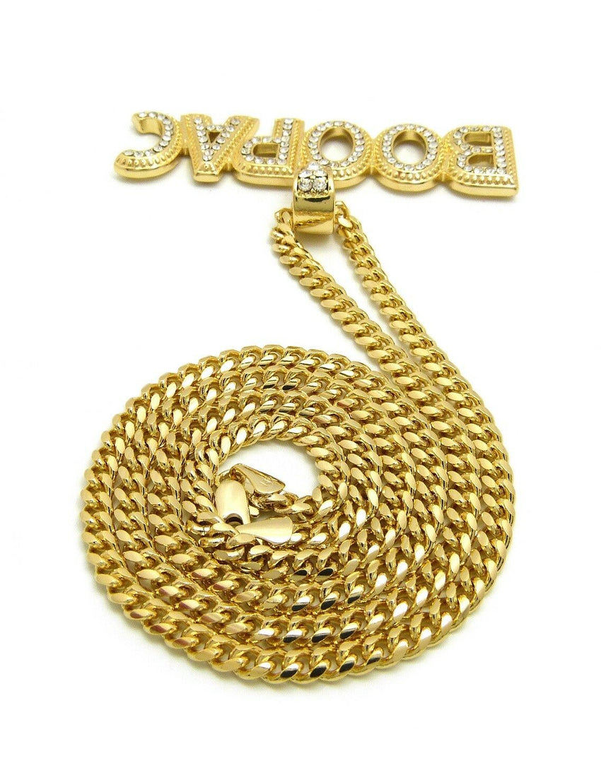 "ICED OUT HIP HOP Lil Boosie BOOMPAC PENDANT 24"" BOX, CUBAN, ROPE CHAIN NECKLACE"