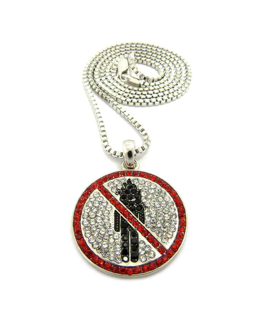 "New Hip Hop Iced Out Travis Scott Rodeo Pendant & 2mm 24"" Box Chain Necklace"
