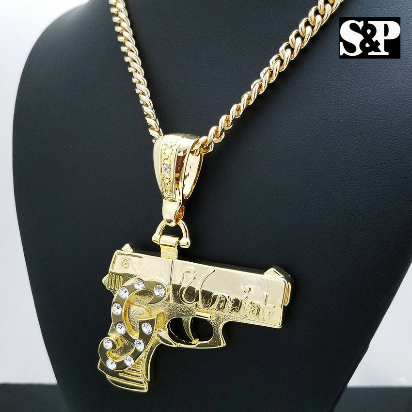 "Iced Out Gold Plated G UNIT GUN Pendant & 6mm 30"" Cuban Chain Hip Hop Necklace"