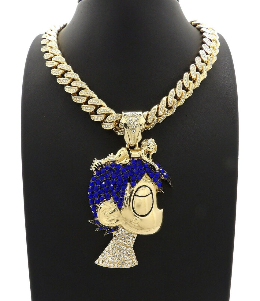 "Hip Hop Uzi Vert LUV pendant & 18"" Full Iced out Cuban Choker Chain Necklace"