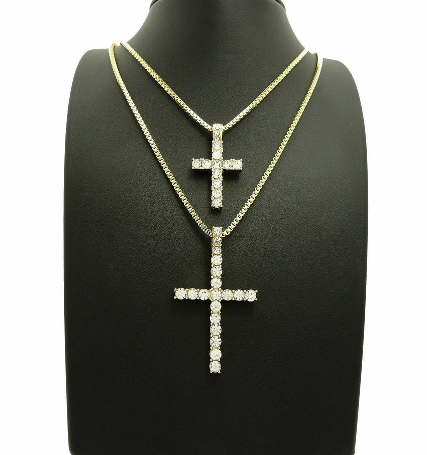 "ICED OUT CROSS DOUBLE PENDANT & 2mm 24"" & 30"" BOX CHAIN 2 NECKLACE SET"