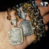 "Hip Hop Iced out Bling Lab Diamond Square Pendant & 8mm 24"" Gucci Chain Necklace"