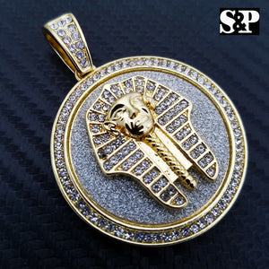 HIP HOP ICED LAB DIAMOND GOLD PLATED EGYPT PHARAOH  MEDALLION PENDANT