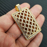 HIP HOP ICED OUT STAINLESS STEEL LAB DIAMOND GOLD PLATED SQUARE PENDANT