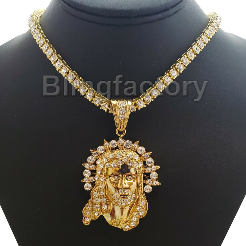 "Iced out Hip Hop Gold PT Jesus Pendant & 18"" 1 ROW Tennis Choker Chain Necklace"