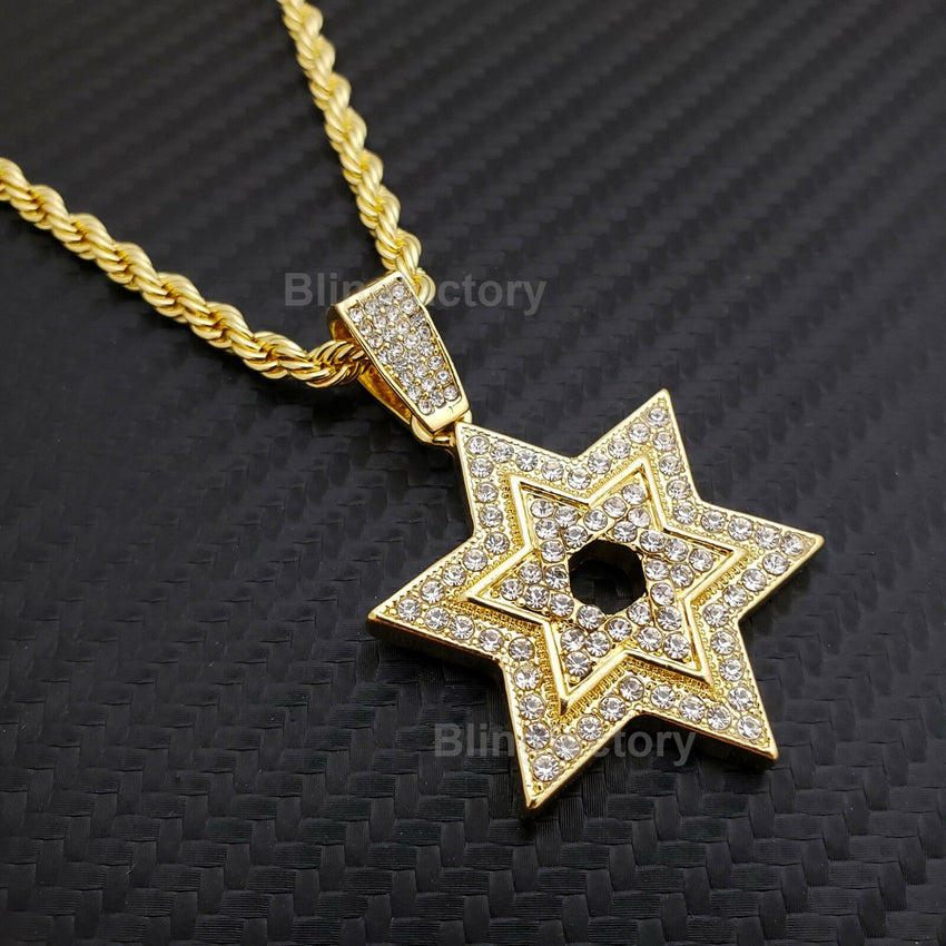 "Hip Hop Iced out Lab Diamond Star of David Pendant & 4mm 24"" Rope Chain Necklace"