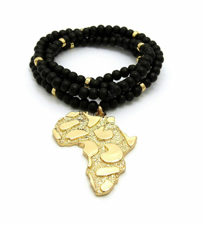 "HIP HOP GOLDEN NUGGET AFRICA PENDANT & 6mm 30"" WOODEN BEAD CHAIN NECKLACE"
