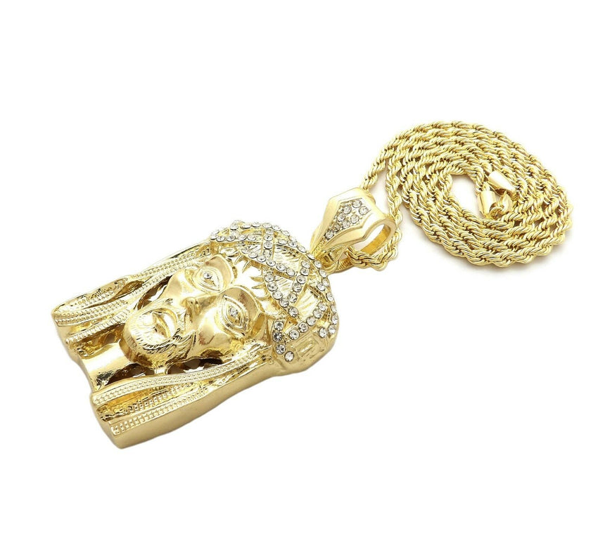 "HIP HOP ICED OUT GOLD PT HOLY JESUS HEAD PENDANT & 4mm 24"" ROPE CHAIN NECKLACE"