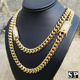 "Hip Hop Gold PT Lab Diamond Iced Lock 10mm 24"", 30 Miami Cuban Chain Necklace"