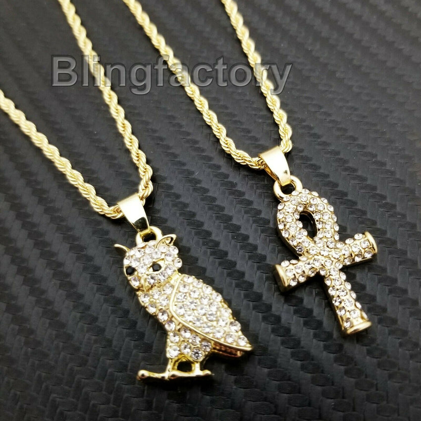 "Hip Hop Iced out Mini Owl & Ankh Cross Pendant & 3mm 24"" Rope Chain Necklace Set"