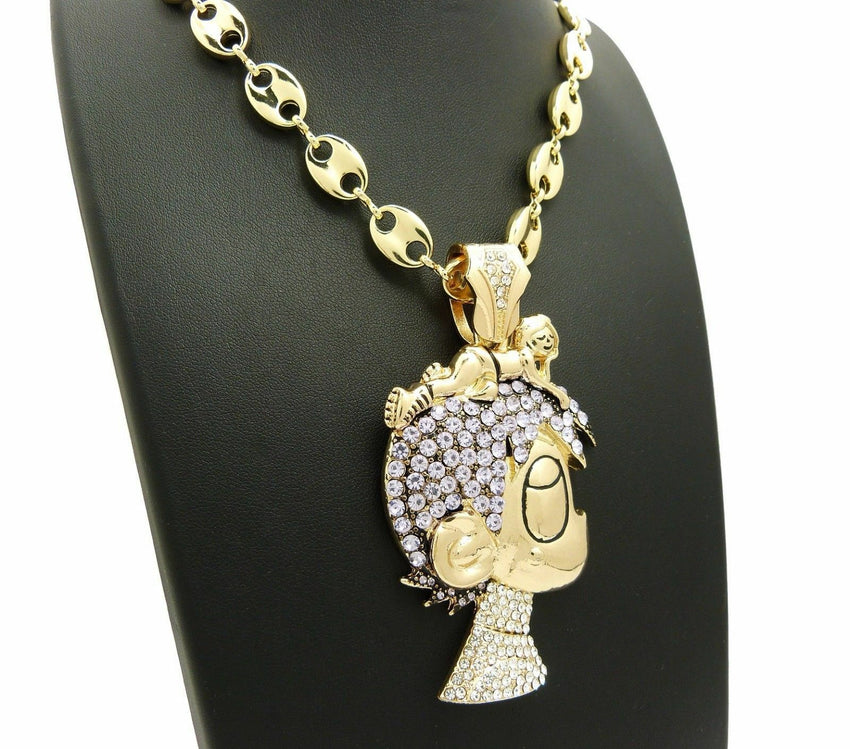 "ICED OUT PAVE LIL UZI VERT CARTOON & 10mm 30"" Marina Chain Necklace"
