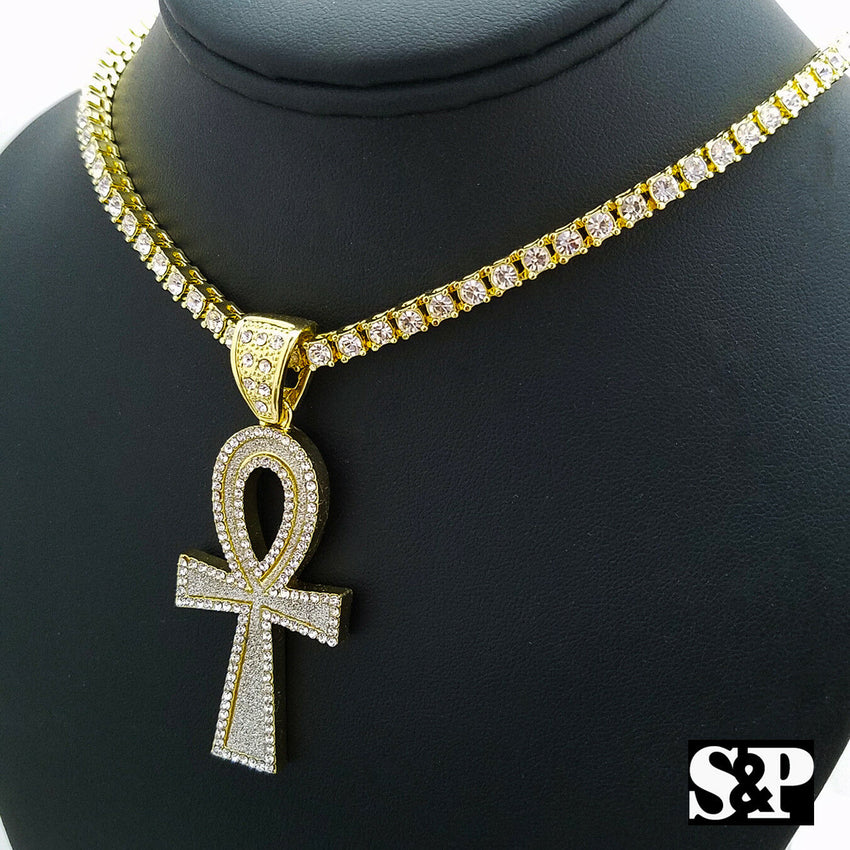 "Hip Hop Ankh Cross Pendant & 18"" Full Iced 1 ROW DIAMOND Tennis Choker Chain Necklace"