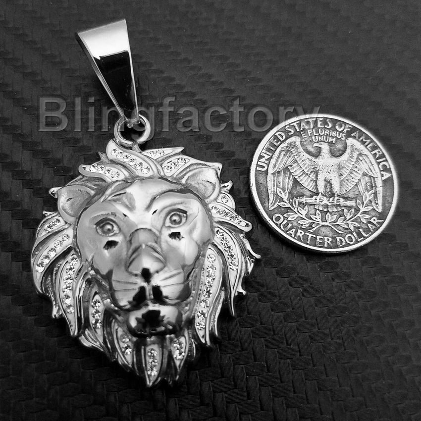 HIP HOP ICED OUT STAINLESS STEEL LAB DIAMOND LION HEAD PENDANT