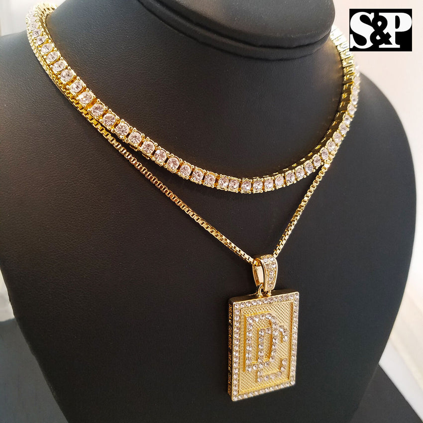 "Hip Hop Quavo Choker 16"" 1 ROW DIAMOND TENNIS CHAIN & DREAM CHASERS Necklace Set"