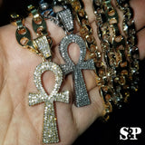 "Hip Hop Iced out Lab Diamond Ankh Cross Pendant & 8mm 24"" Gucci Chain Necklace"