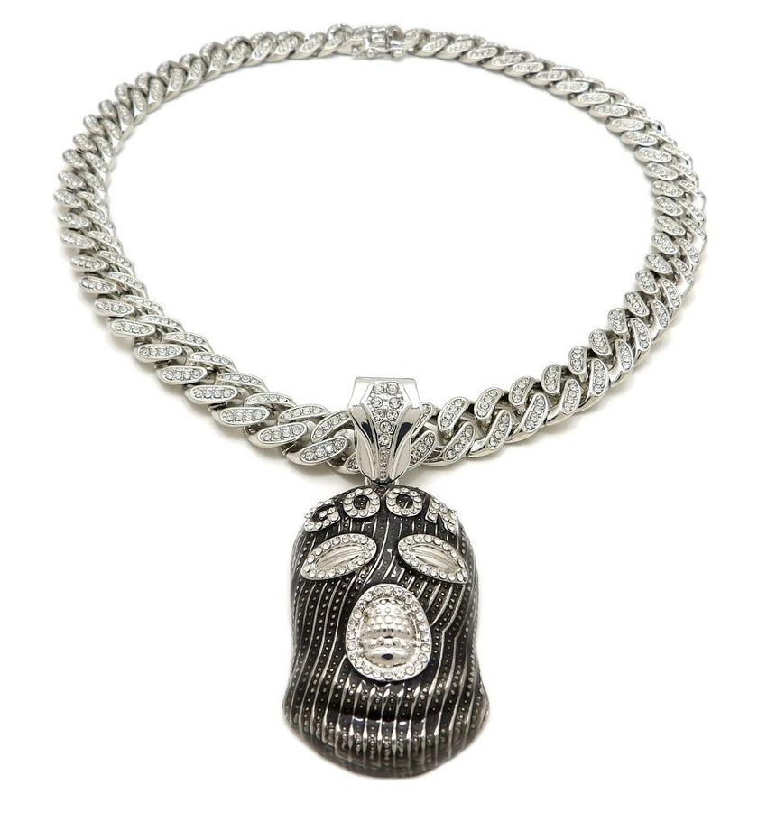 """Hip Hop Large Masked Goon Pendant  /& 18/"""" Full Iced Cuban Choker Chain Necklace"""