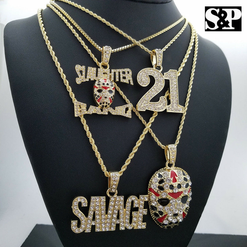 ICED OUT BLING 21 & SLAUGHTER GANG & SAVAGE PENDANT HIP HOP 4 NECKLACE COMBO SET