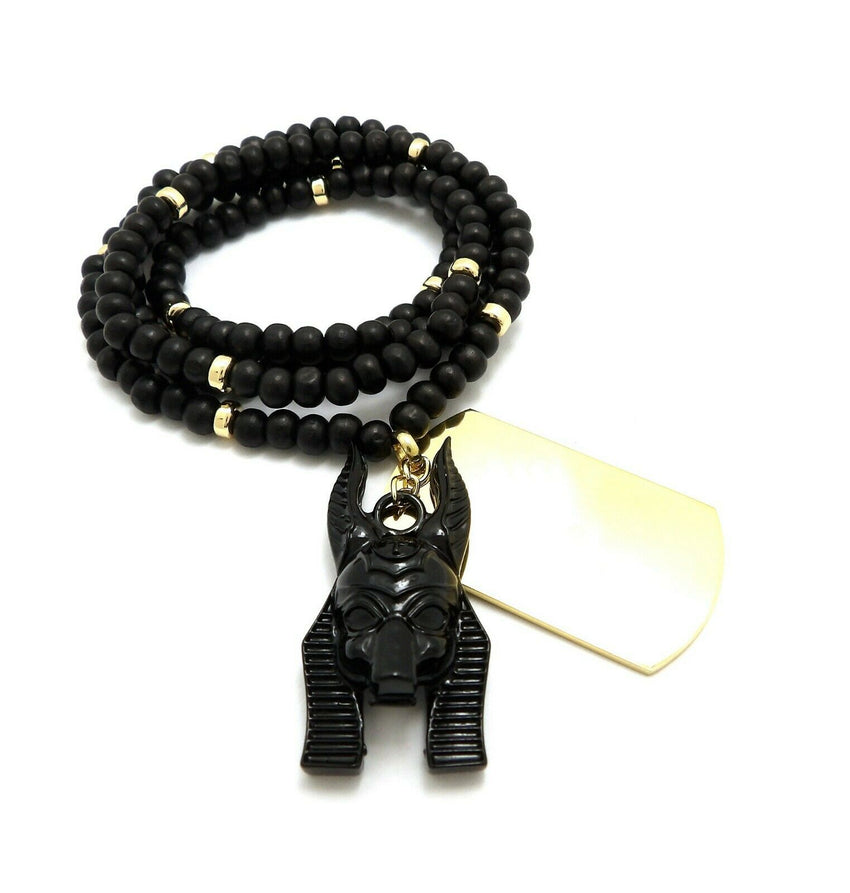 "Hip Hop Egyptian Black Anubis & Dog Tag Pendant & 6mm 30"" Wooden Bead Necklace"