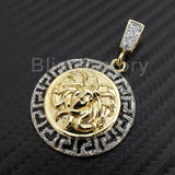 ICED OUT HIP HOP GOLD PLATED MEDUSA HEAD MEDALLION BLING PENDANT