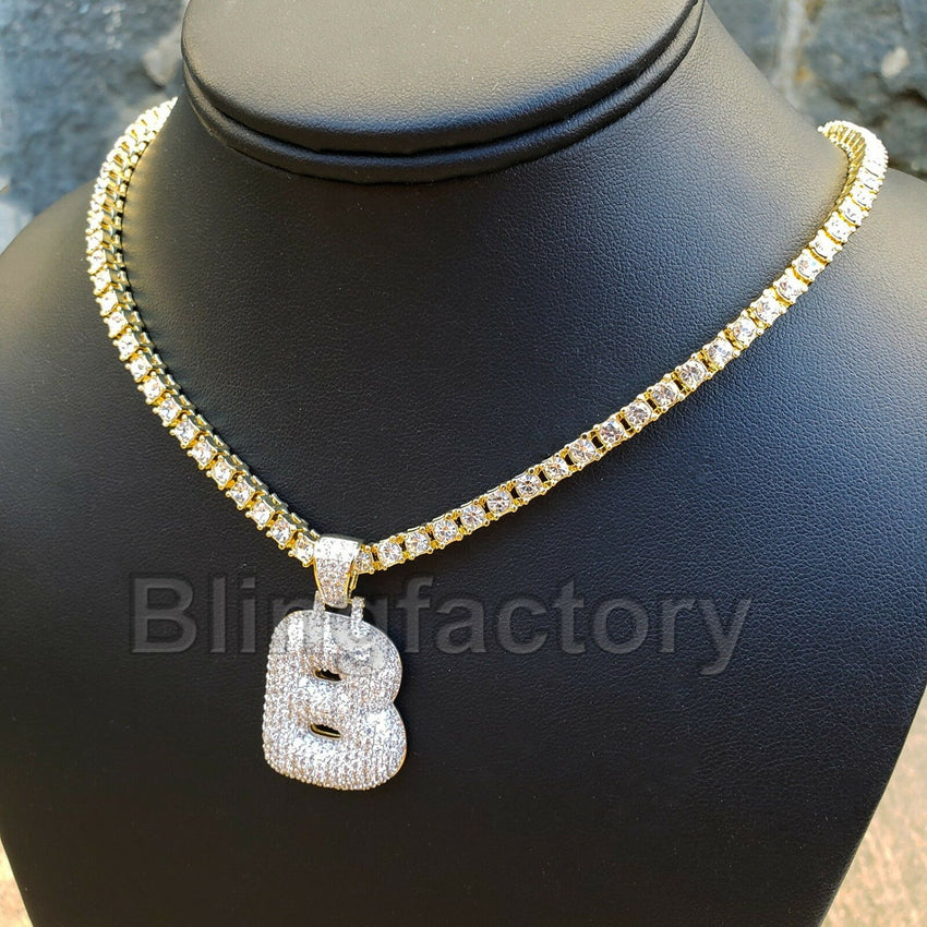 "Hip Hop Bubble Letter ""B"" Brass Pendant & 18"" 1 Row Tennis Choker Chain Necklace"