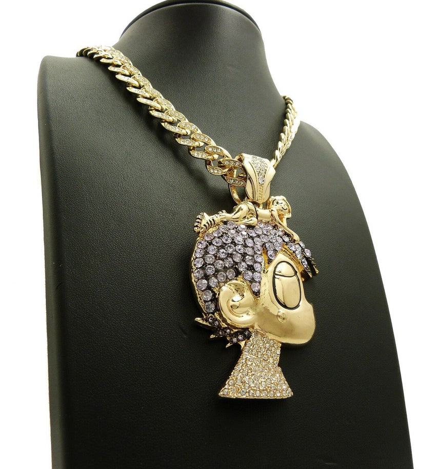 "LIL UZI VERT Cartoon Pendant w/ Iced Out 18"" ~ 24"" Cuban Choker Chain Necklace"