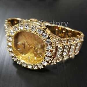 Men's Luxury Hip Hop Gold finished Designer Style Rapper's Big CZ Bezel Watch