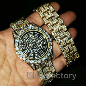 MEN'S ICED OUT HIP HOP GOLD PT LAB DIAMONDS LIL PUMP WATCH & BRACELET COMBO SET
