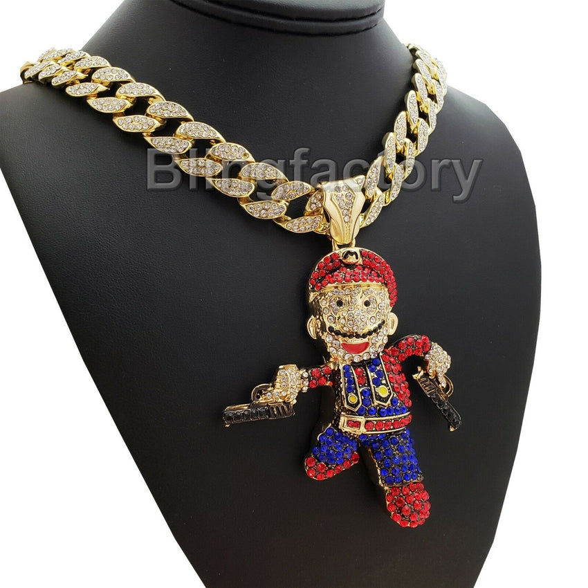 "Hip Hop Mario Gun Man Pendant & 18"" Full Iced Miami Cuban Choker Chain Necklace"