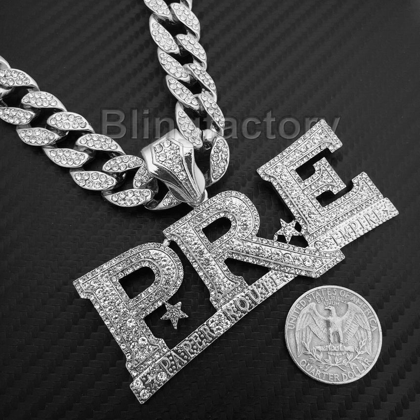 "Hip Hop Young Dolph PRE Pendant & 18"" Full Iced Cuban Choker Chain Necklace Set"
