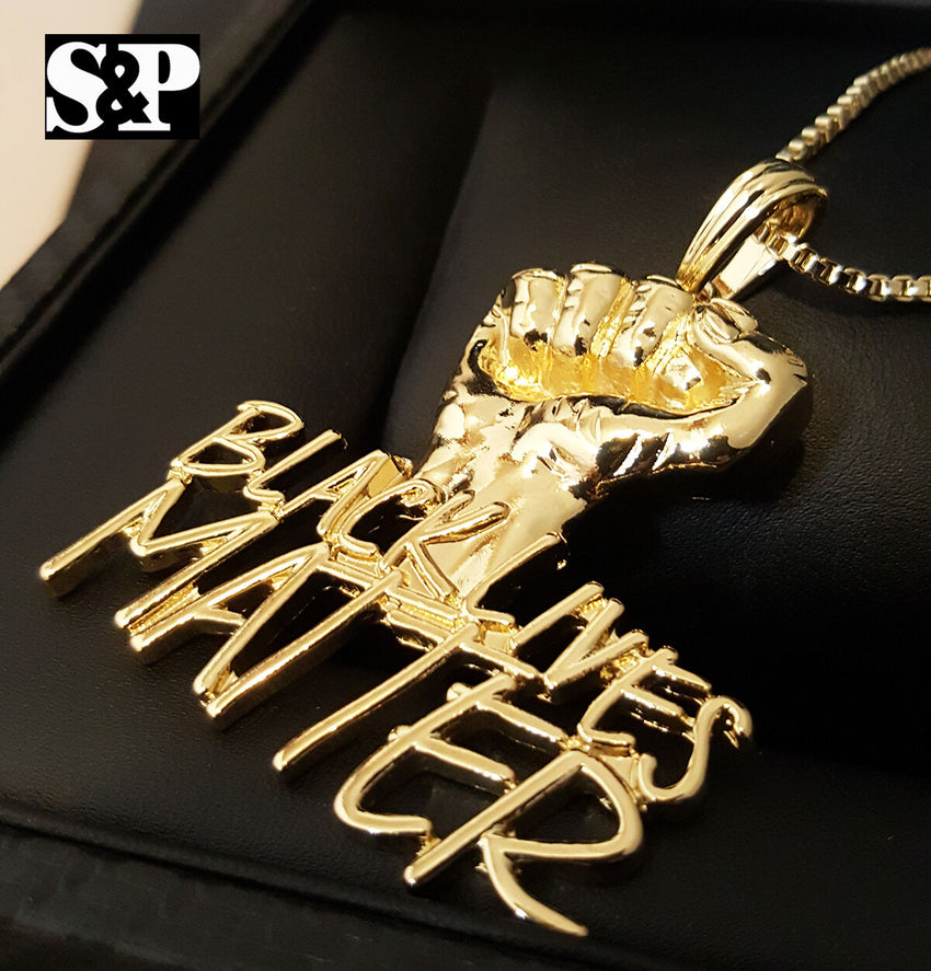 "HIP HOP BLING GOLD PLATED 'BLACK LIVES MATTER' PENDANT & 24"" BOX CHAIN NECKLACE"