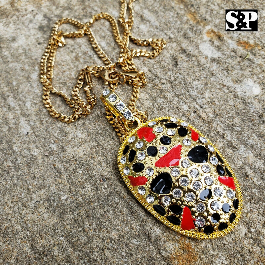 "Iced Savage 21 Slaughter Gang Pendant & 3mm 24"" Cuban Chain Necklace"