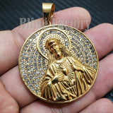 Iced out Hip Hop Stainless steel Gold Tone Holy Jesus Medal Charm Pendant